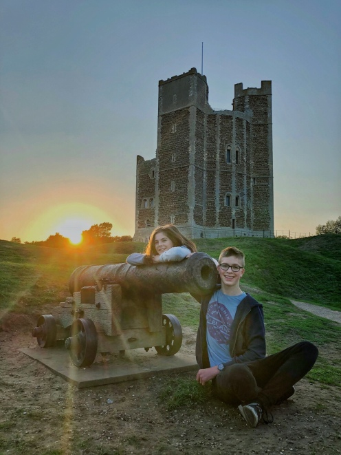 Roman & Ava at sunset at Orford Castle