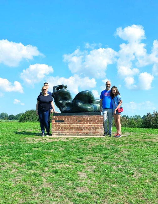 Admiring the Henry Moore statue at Snape Maltings